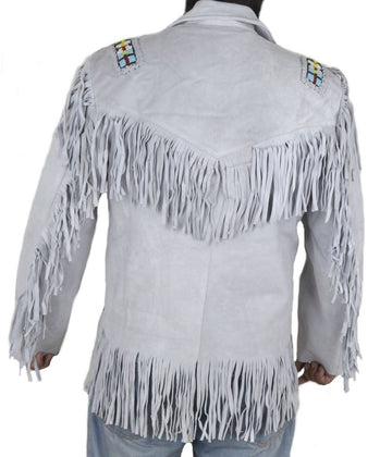 Leather Skin White Western Fringes Cowboy Genuine Real Leather Jacket