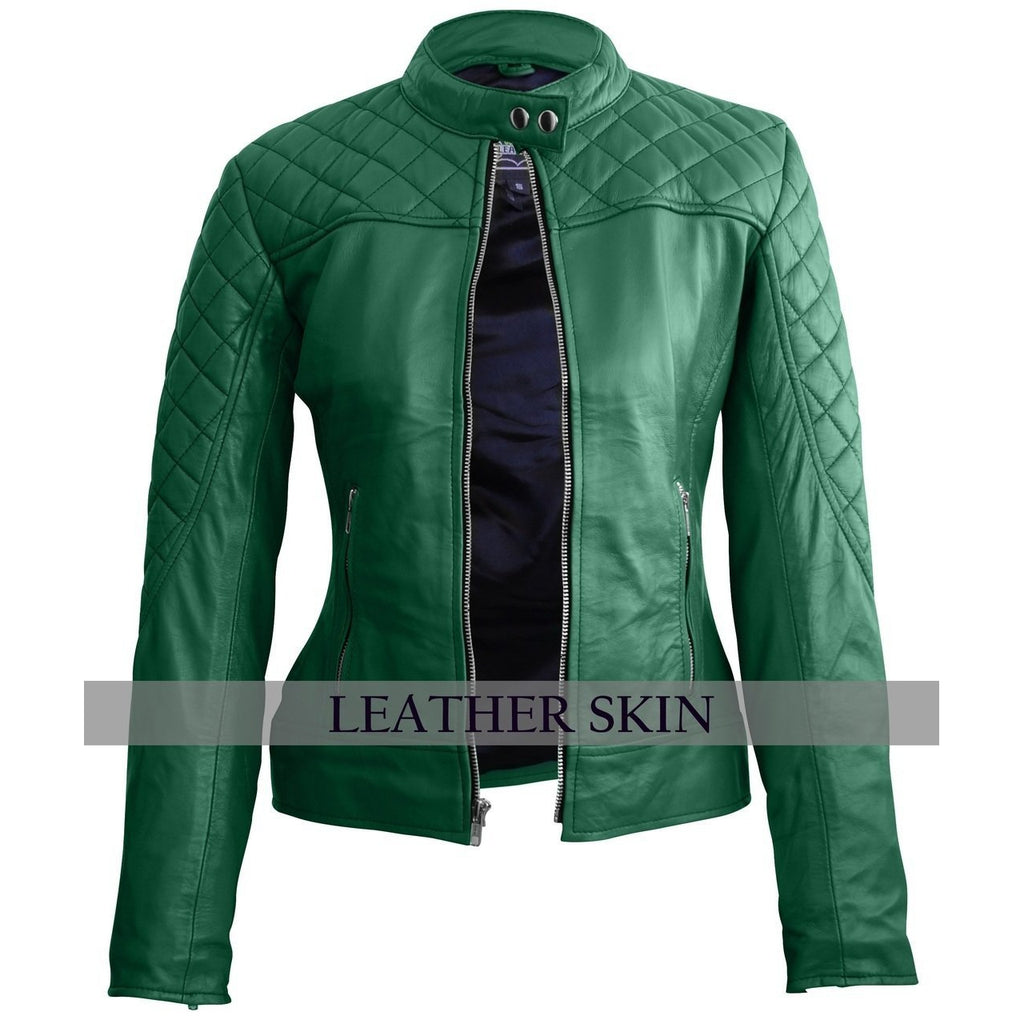Leather Skin Women Green Quilted Genuine Leather Jacket
