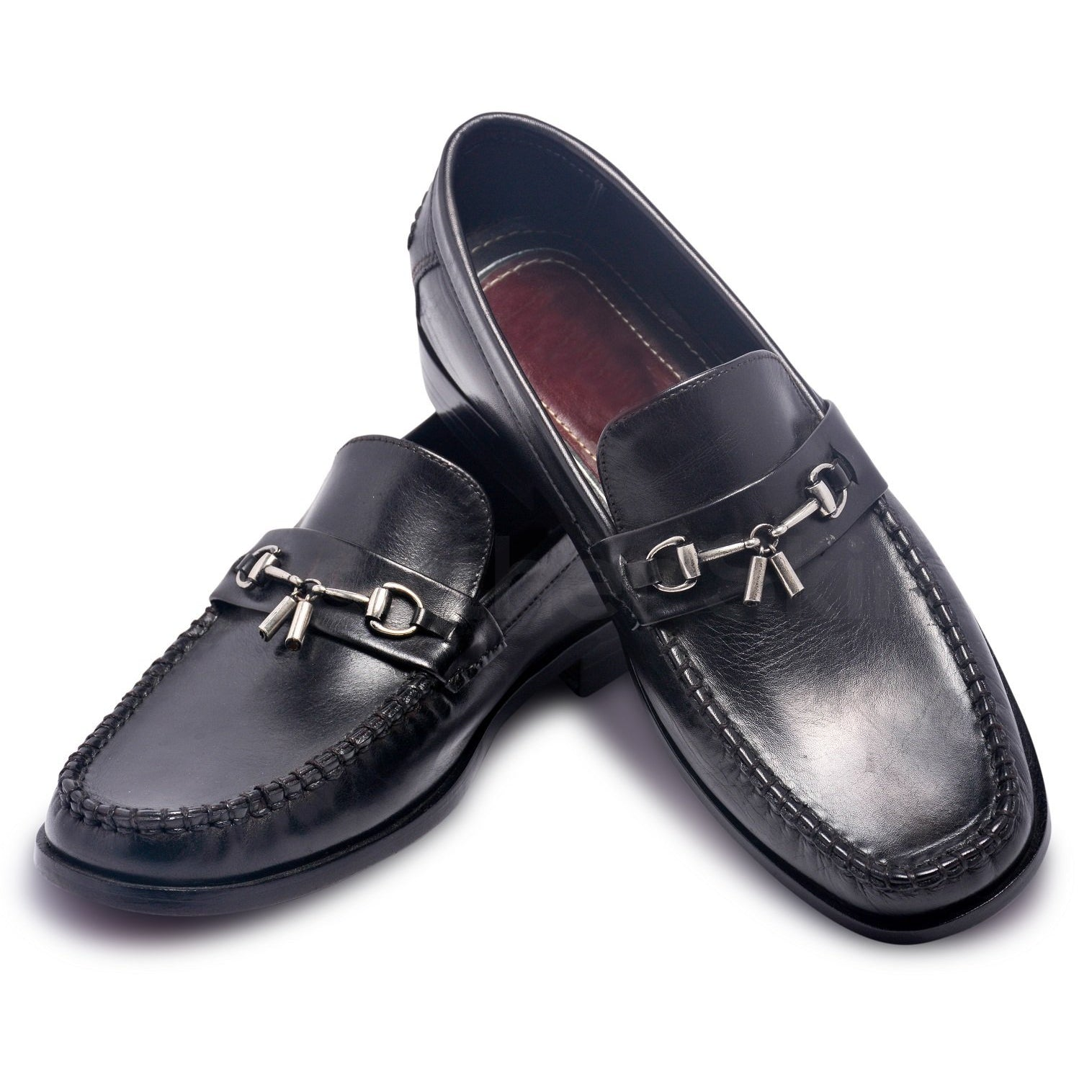 Bit Loafer Slip-On Genuine Shoes with Metal Tassels for Mens