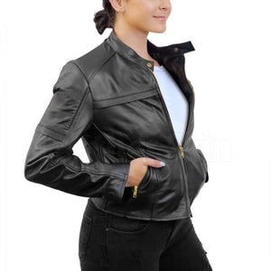 Black Biker Leather Jacket with Gold Zippers for Women