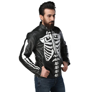 Black Biker Leather Jacket with White Skeleton