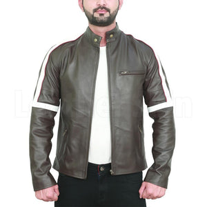 Black Leather Jacket with white shoulder stripes