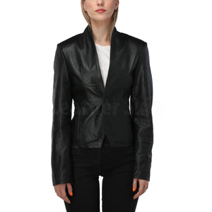 Black Minimalist Leather Jacket