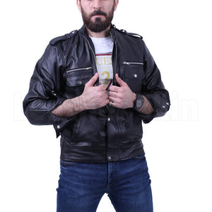 Black leather jacket with side pocket