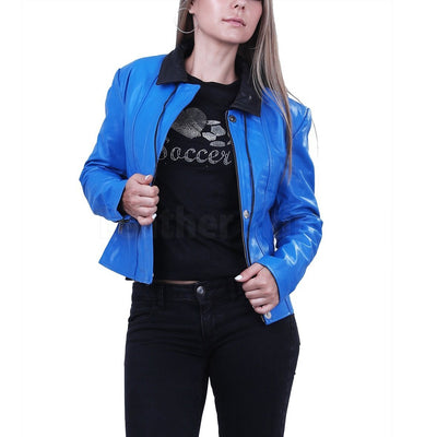 Blue Biker Leather Jacket for Women