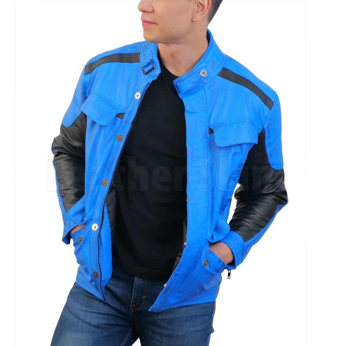 Blue Combo Biker Leather Jacket