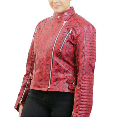 Bold Red Snake Pattern Faux Leather Jacket