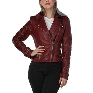 Burgundy Leather Jacket with Gray Hood