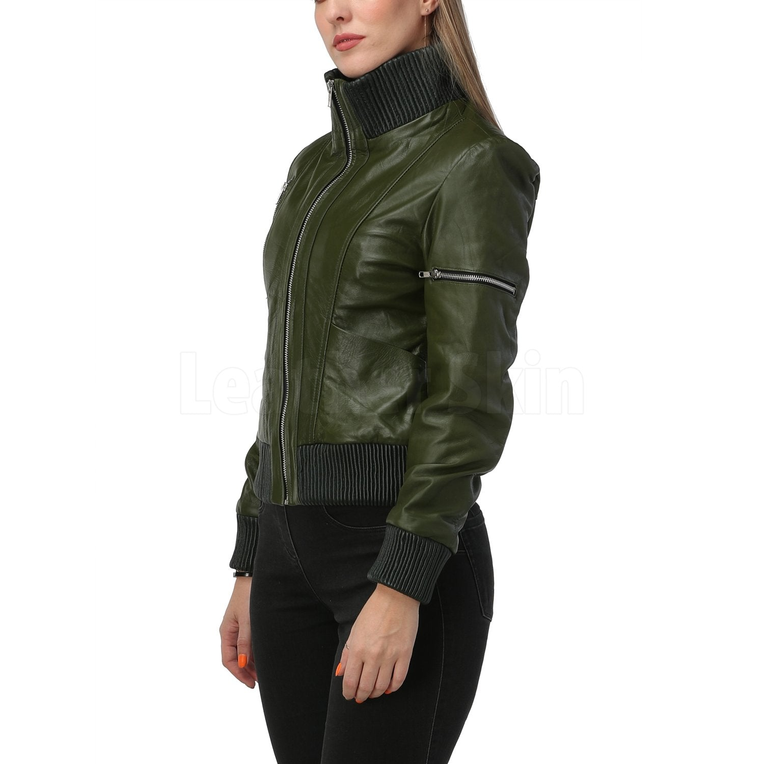 Carol Green Bomber Leather Jacket