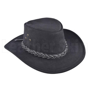 Classic Midnight Leather Braided Cowboy Hat