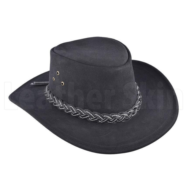 174c15616743c Classic Midnight Leather Braided Cowboy Hat