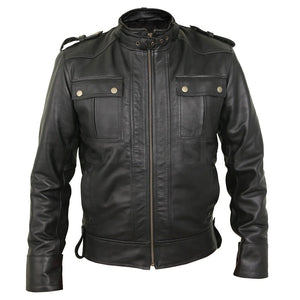 Classy Black Bomber Leather Field Jacket