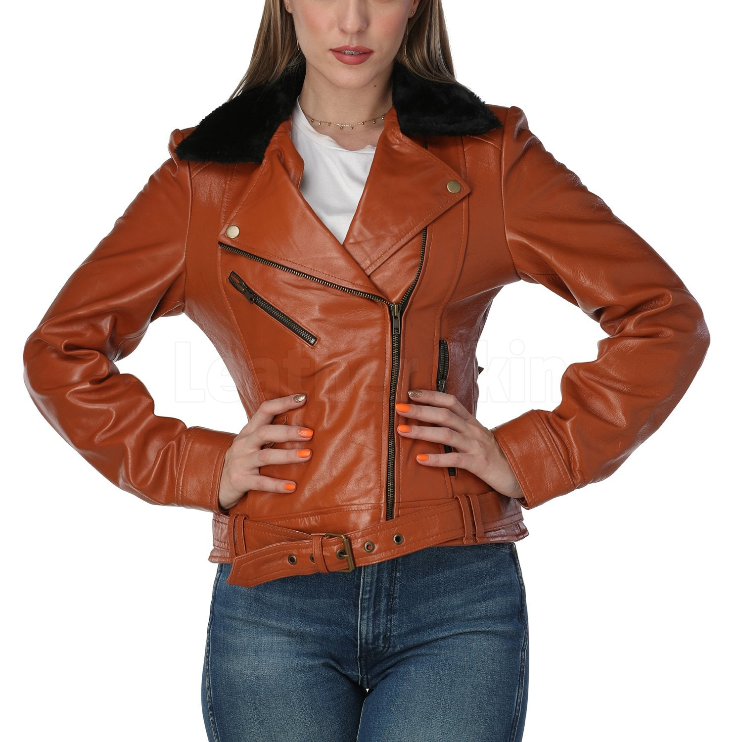 Cognac Brown Leather Jacket with Fur Collar