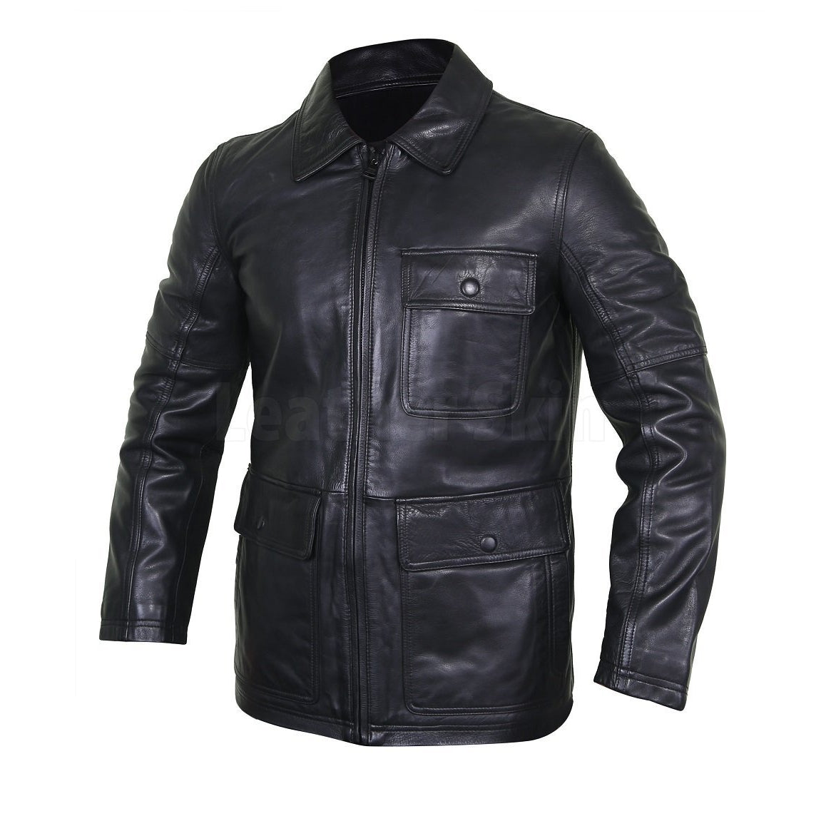 Collared Black Men's Leather Jacket with Flap Pockets