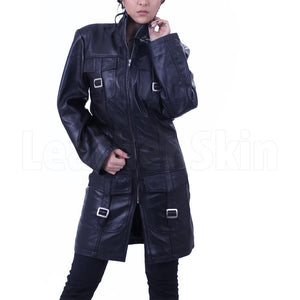 Cowhide Leather Long Coat