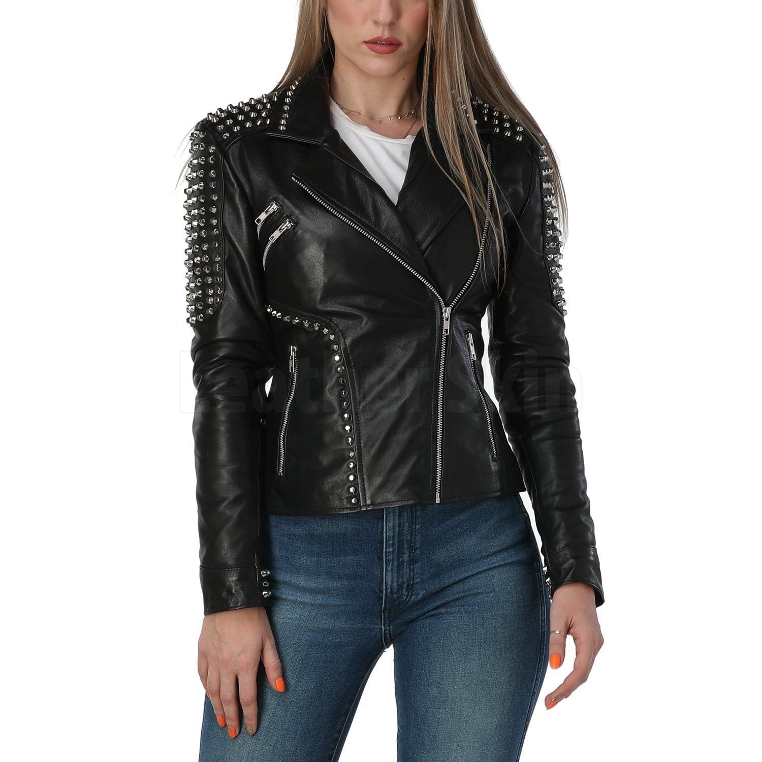 Cutting Edge Black Spike Studded Leather Jacket