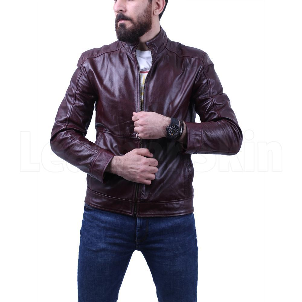 Dark Maroon Waxed leather jacket