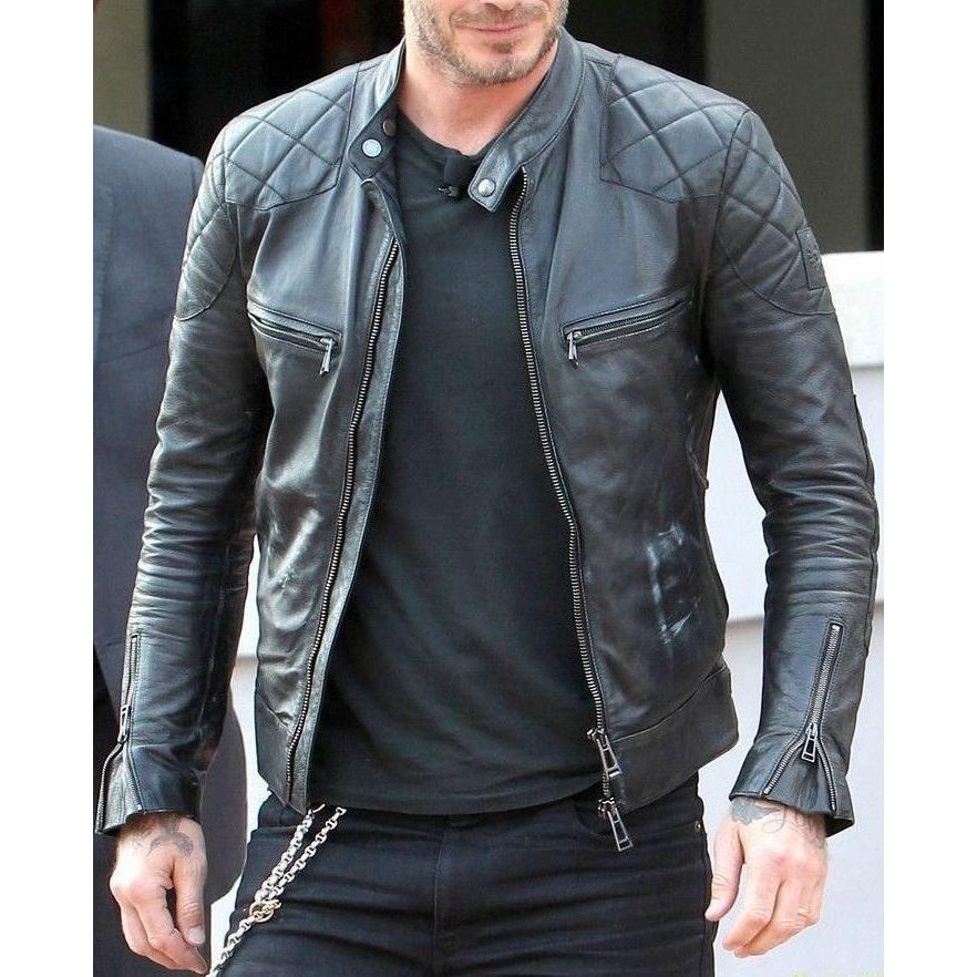 Men Black Motorcycle Biker Quilted Real Genuine Leather Jacket