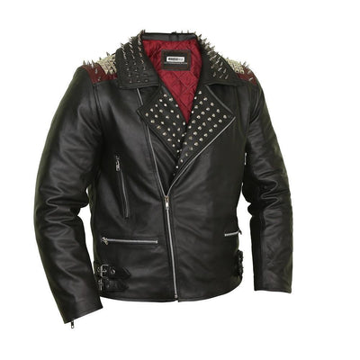 Edgy Black Leather Biker Jacket with Red Quilted Lining