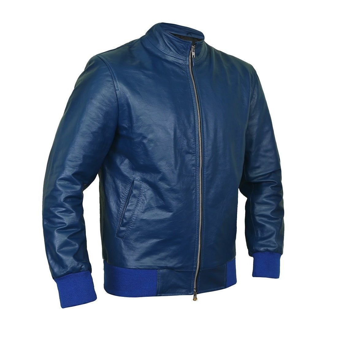 Edgy Navy-Blue Bomber Flight Leather Jacket