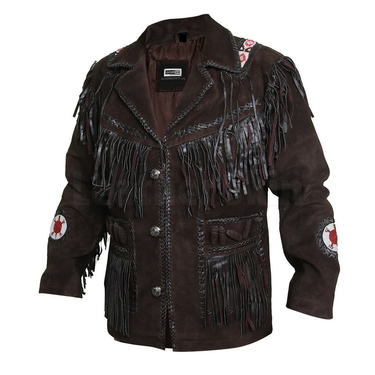 Edgy Chocolate Brown Leather Jacket with Fringes