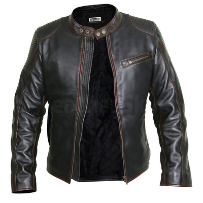 Elegant Black Cafe Racer Leather Jacket with Chocolate Lining