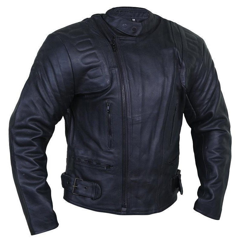 Elegant Coal Leather Racer Jacket