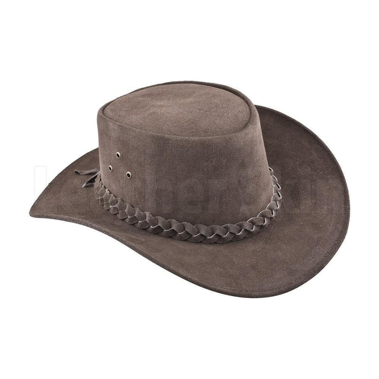 Elegant Suede Leather Cowboy Safari Hat