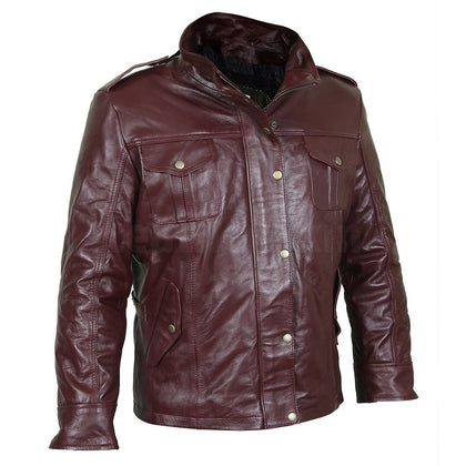 Exceptional burgundy leather field jacket