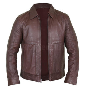 Exquisite Cedar Men's Leather Jacket with a Shirt Collar