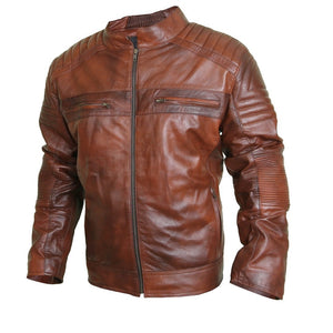Flamboyant Clay Leather Jacket with Mandarin Collar