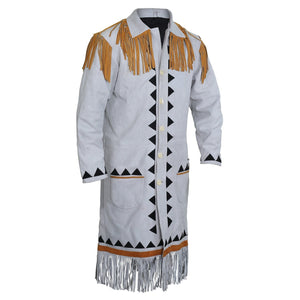 White fringe leather cloak Knee length Jacket