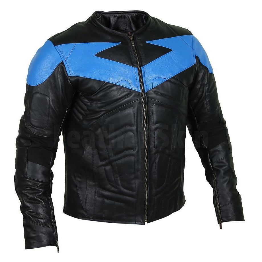 Ideal Black Leather Jacket with Energetic Blue Patch