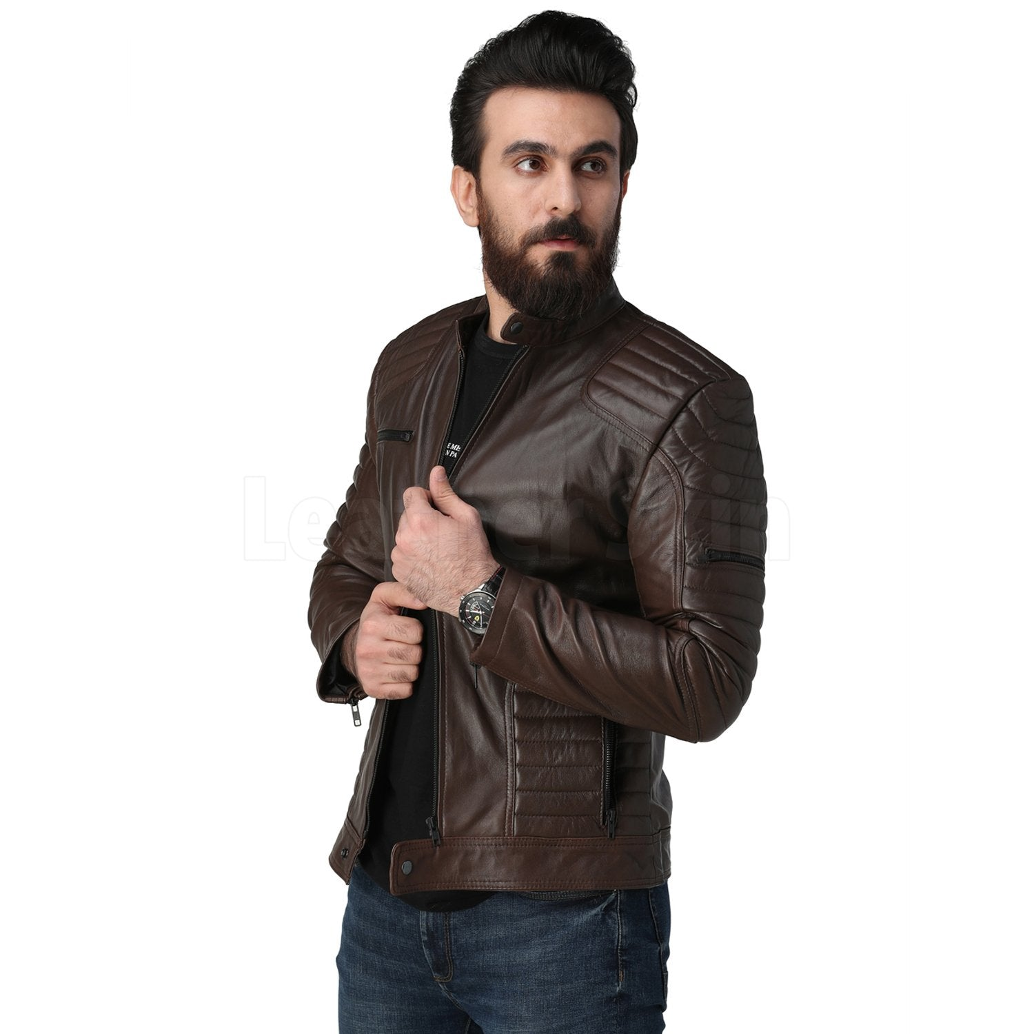 Justin Dark Brown Quilted Leather Jacket