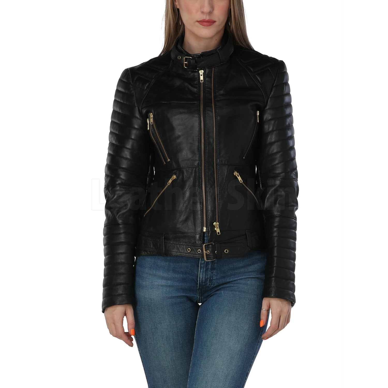 Katherine Black Belted Leather Jacket