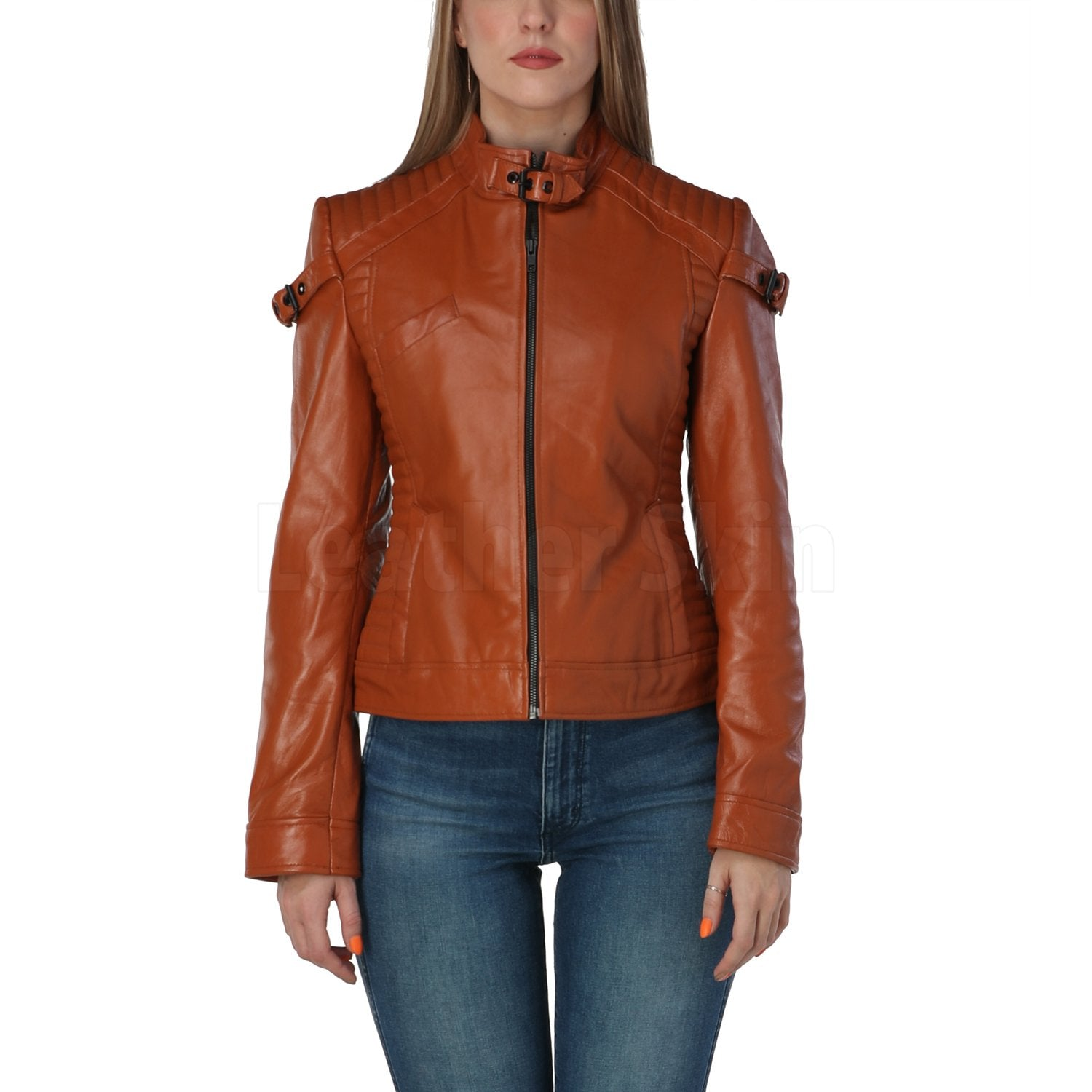 Katniss Cognac Brown Leather Jacket