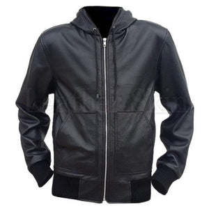 Men Black Hooded Hoodie Genuine Leather Jacket