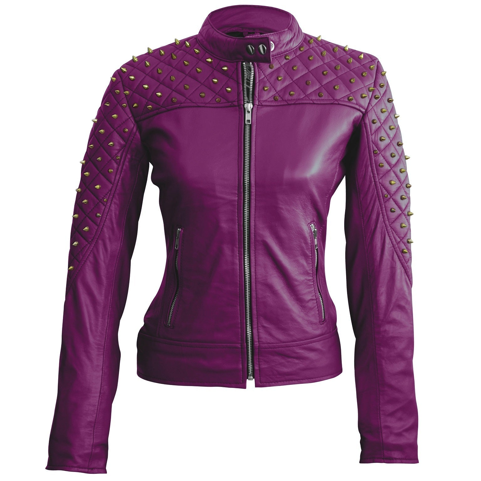Leather Skin Women Purple Shoulder Quilted Gold Studs Studded Genuine Leather Jacket