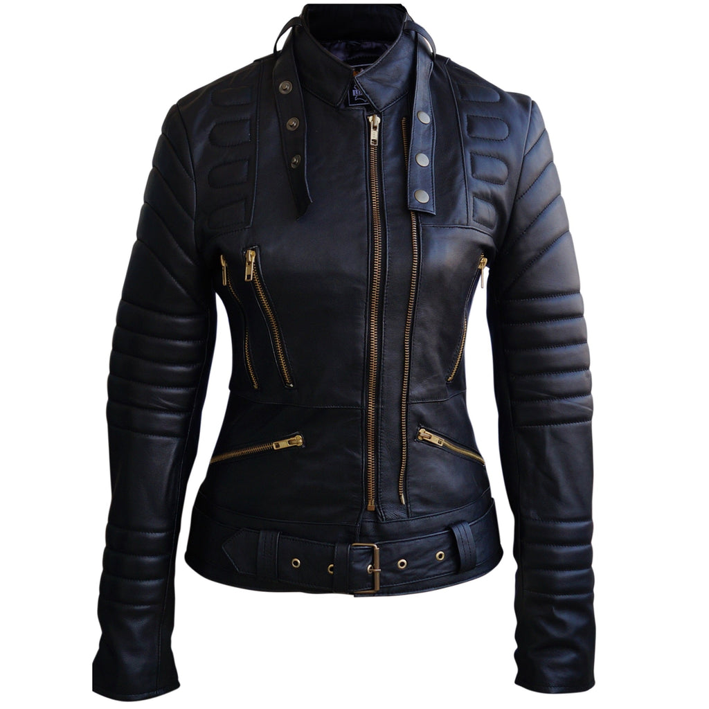 Women Black Padded Rusted Zippers Genuine Leather Jacket Front Pose