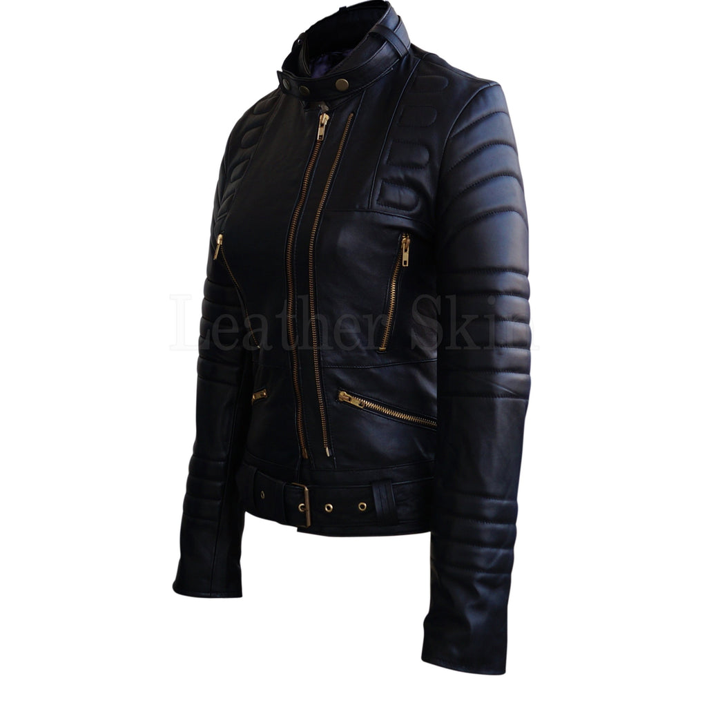 Sophie Marceau Style Women Black Padded Quilted Celebrity Leather Jacket
