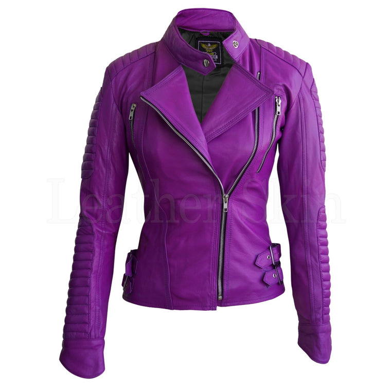 Leather Skin Women Purple Brando Padded Genuine Leather Jacket