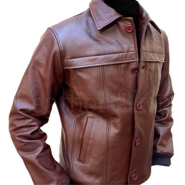 Classic Men Brown Biker Leather Jacket with Front Button Closure