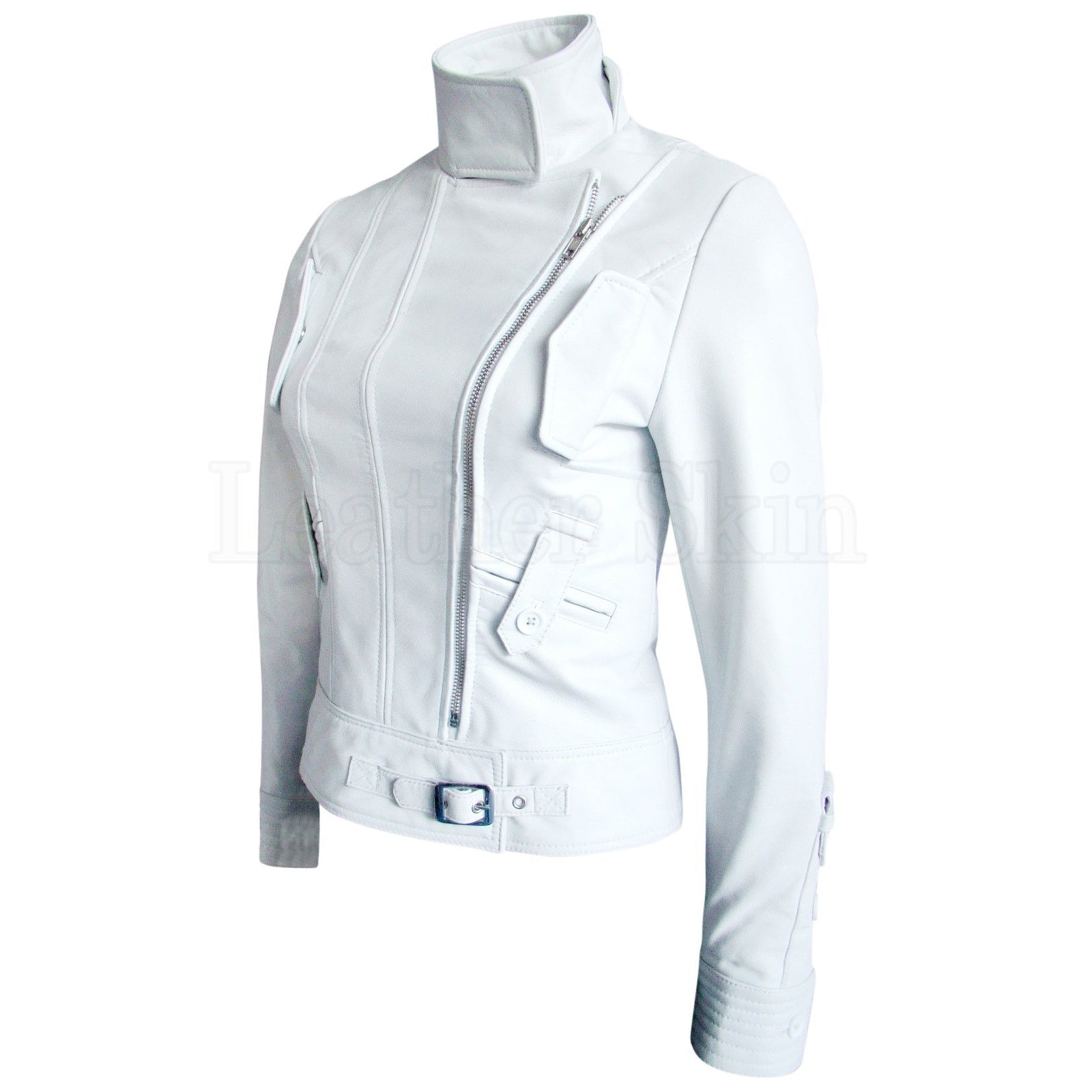 Leather Skin Women White Angel Brando Genuine Leather Jacket