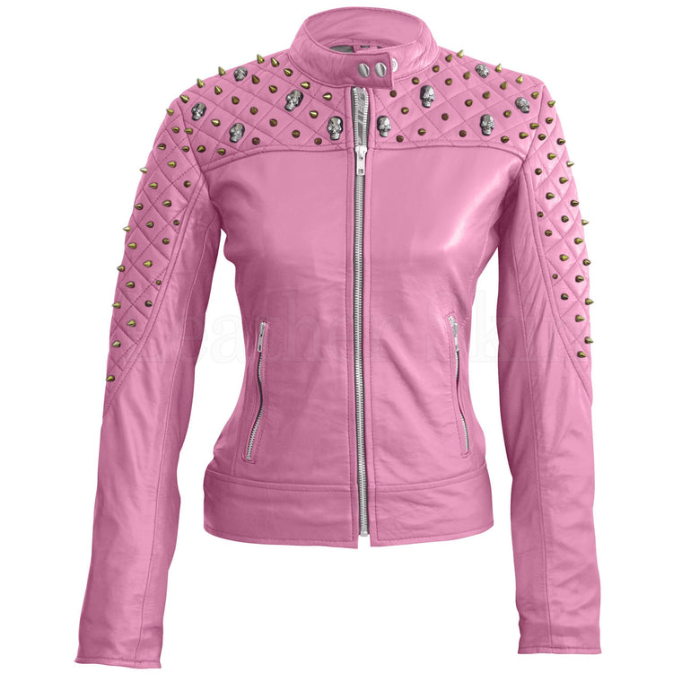 Leather Skin Women Pink Quilted Gold Studded Skeletons Genuine Leather Jacket