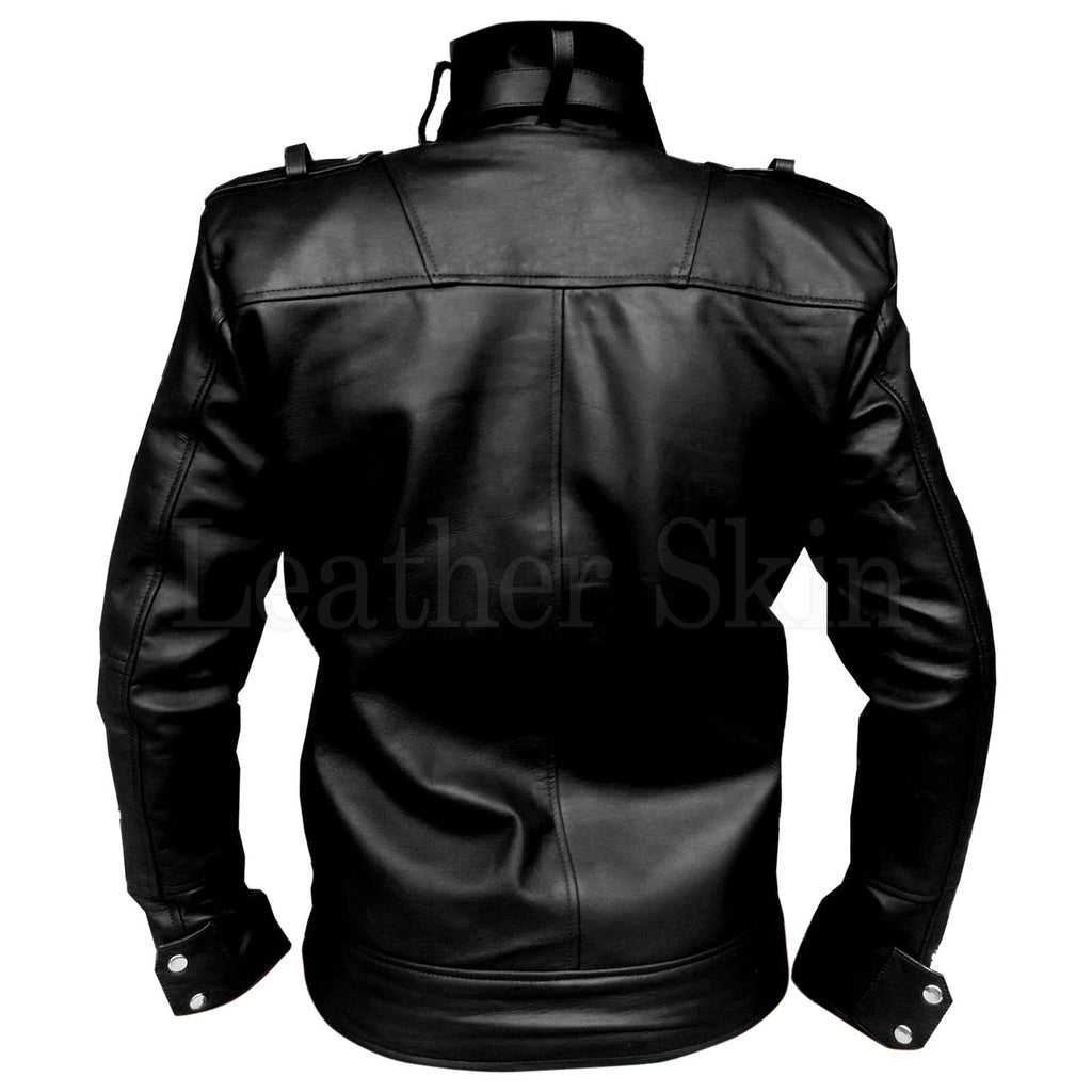 Men Bold Black Genuine Leather Jacket