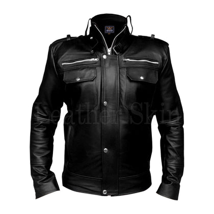 Men Black Real Leather Jacket with Chest Pockets