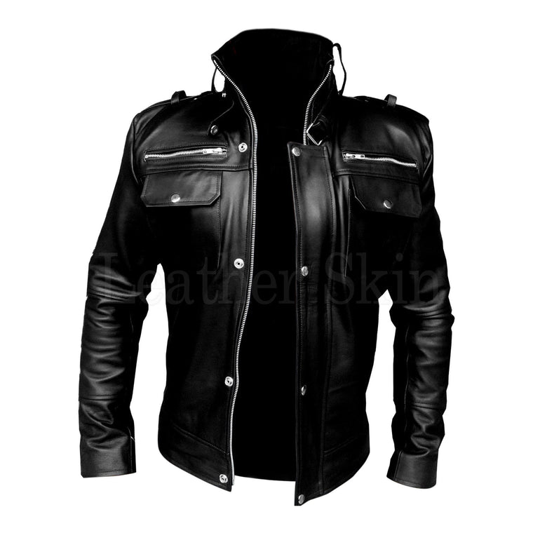 Leather Skin Men Black Genuine Leather Jacket with Front Chest Pockets