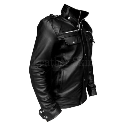 Black Leather Jacket for Men with Chest Zippers