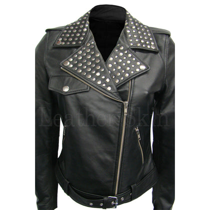 Leather Skin Women Brando Black Collar Studded Genuine Leather Jacket