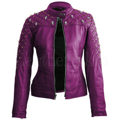 Leather Skin Women Purple Quilted Gold Studded Skeletons Genuine Leather Jacket